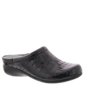 David Tate Catalina black patent crocodile clogs